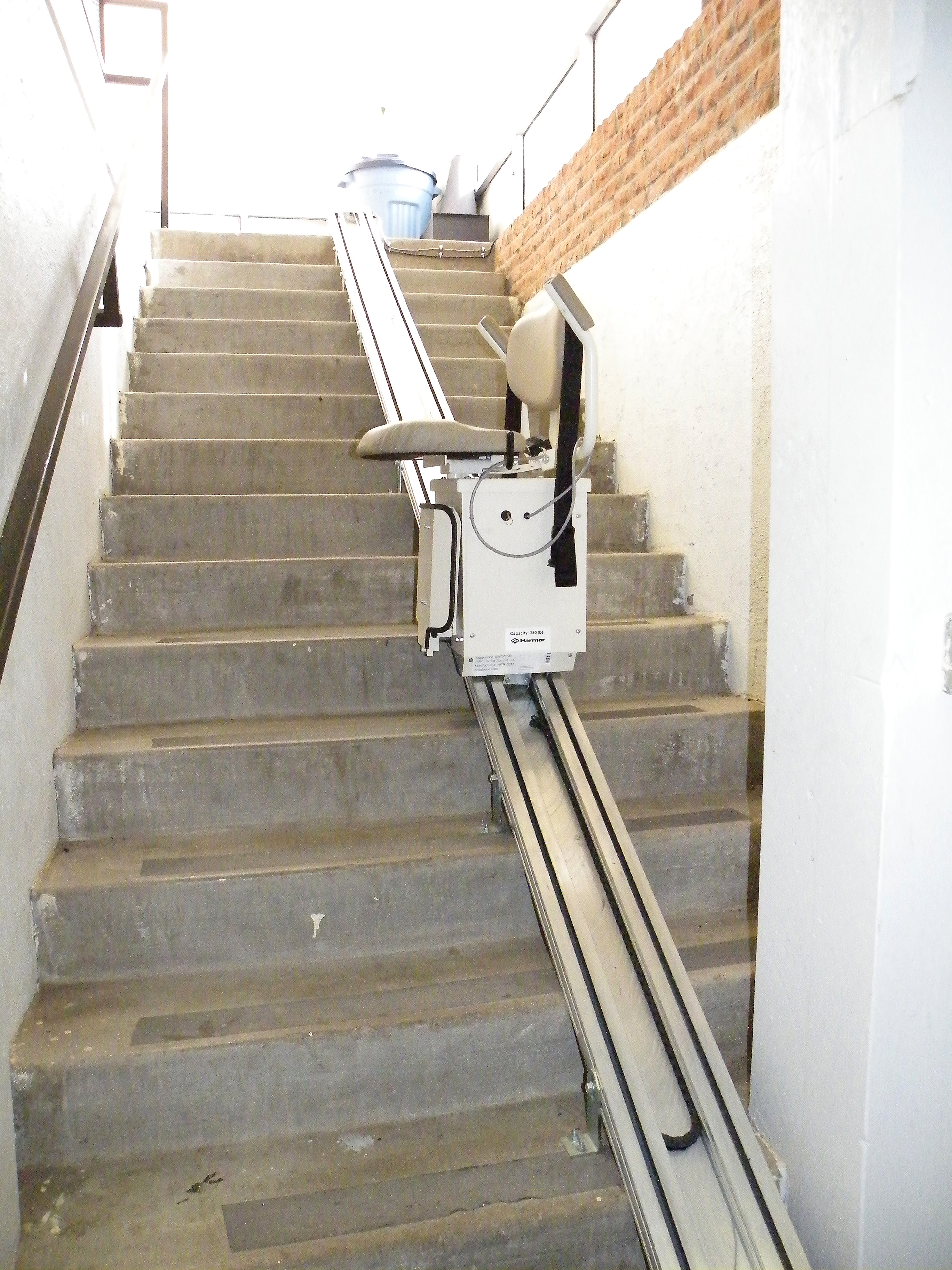 A wheelchair accessible lift to take people up stairs